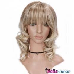 Perruque blonde à frange et boucles