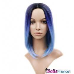Perruque dégradés de bleu mi-longue