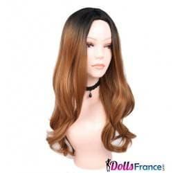 Perruque bicolore longue brune et châtain