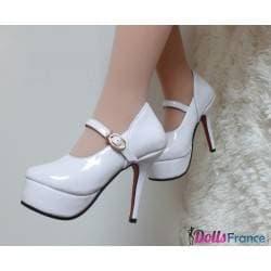 Chaussures à talons blanches pour mini-doll 100cm