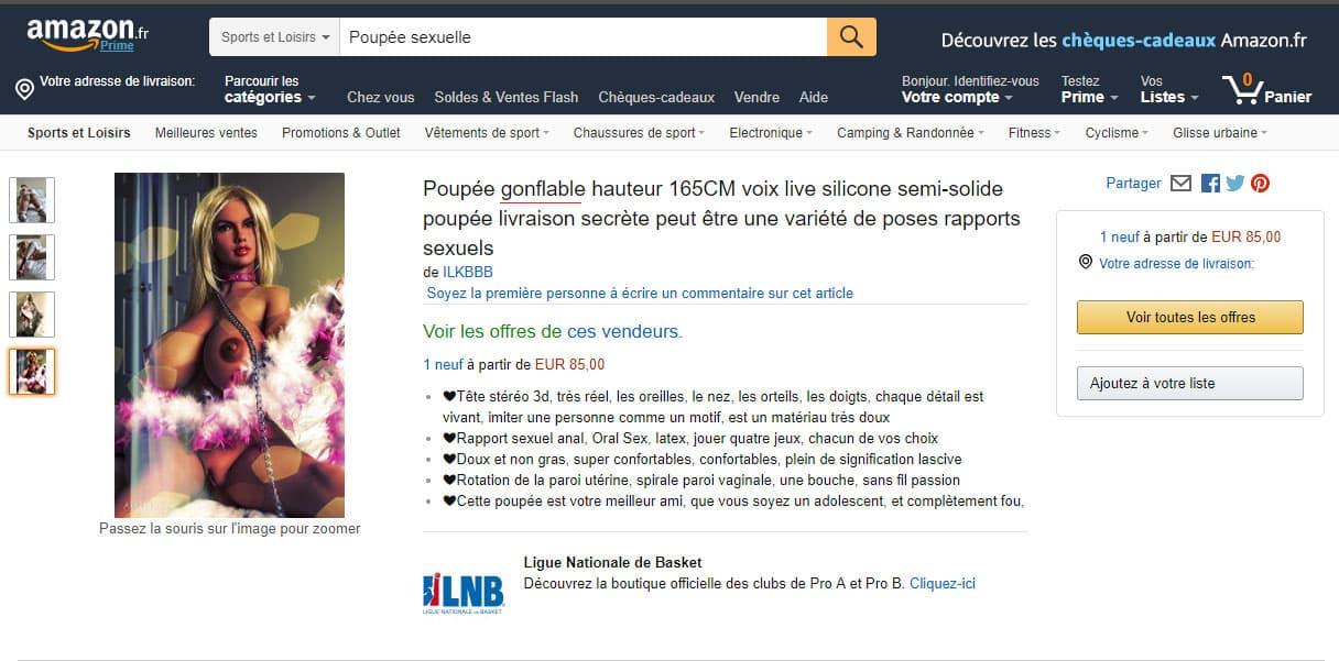 Arnaque vente de poupée réaliste silicone tpe sur Amazon
