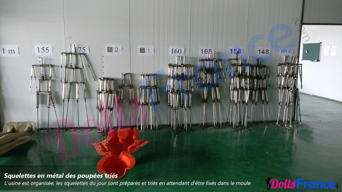 Classement des squelettes métalliques des poupées sexuelles par taille