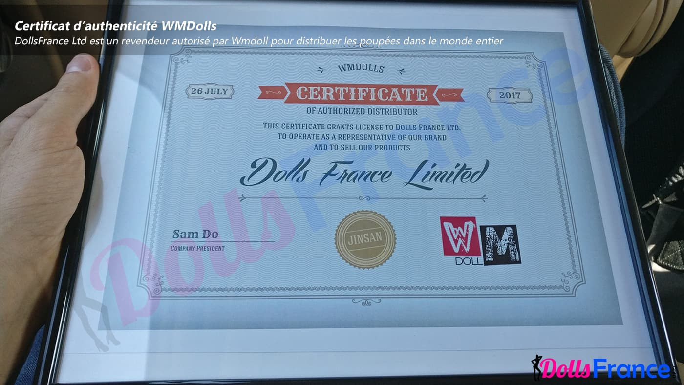 Certificat de revendeur agréé par Wmdolls